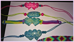Cute colorful bracelets engraved for only a dollar a piece!